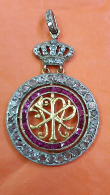 Royal Crown gold medal with diamonds and rubies