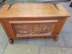Antique blanket chest * hand carving * wrought iron