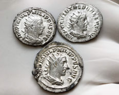 Roman Empire - Lot of three Antoninians Philip I Arab , Philip II , Trebonianus Gallus
