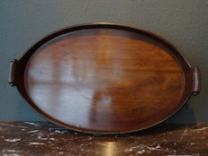 Oval mahogany tray with copper bands