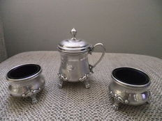Silver three piece table set, Germany, XIX ct
