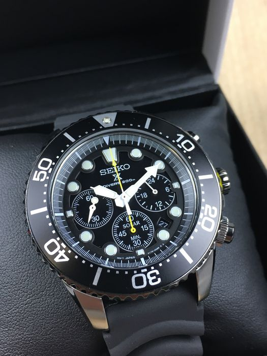 on sale e6264 d644a Seiko Solar Divers Chronograph, reference: SSC021P1, men's watch - Catawiki