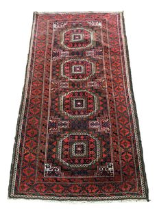 Handmade village rug: Beloutch 170 x 90 cm, made around 1900.