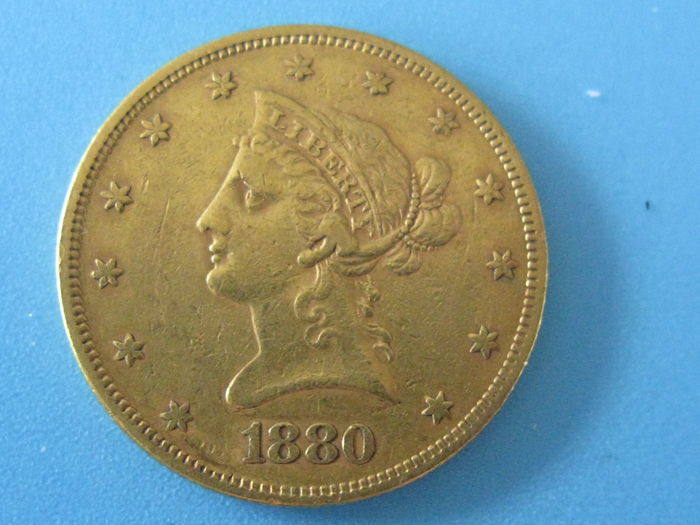 "United States - 10 dollars ""Coronet Head Eagle"" 1880 - gold."