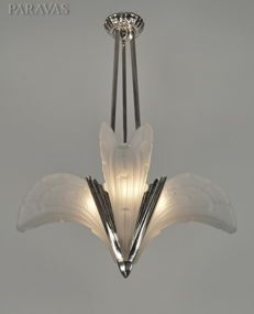 EJG -  Art Deco chandelier - nickel plated bronze and pressed glass
