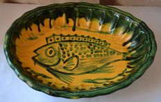 Large earthenware dish scalloped, French hand painted