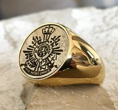 Handmade Dutch Marines Ring Anchor Netherland Royal Army Hypoallergenic 24k Gold Plated 21st Century