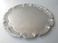 Silver plated tray with floral design