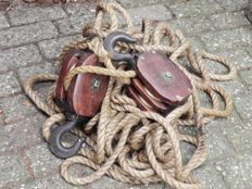 Antique mahogany ship pulleys copper wheels with hemp rope