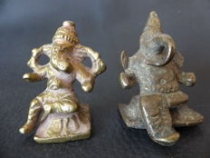 Lot of 2 Ganesh figures, Hindu Votive offering – India – Mid 20th century