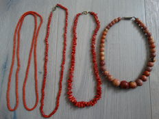 4 antique coral necklaces