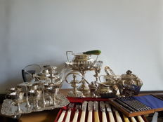 A silver plated tea set and other items