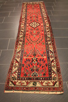 Old high quality handwoven Persian carpet, Malay, Made in Iran around 1940, plant colours 80 x 300 cm