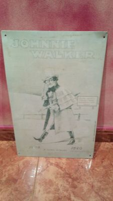 Very old Johnnie Walker advertising plate - advertising plate, 1909.