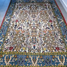 Beautiful old Ghom birds' paradise Persion rug - 197 x 140 - With certificate