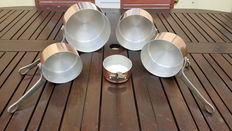 Lot of 5 tinned copper pans, stamped MADE IN FRANCE.