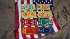 USA - 8 x original Florida license plates 1960-1970 -  USA  +  Large Flag