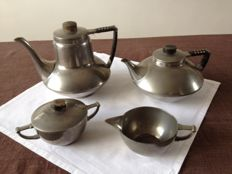 "Art Deco pewter tea & tea set ""Real Pewter"" 