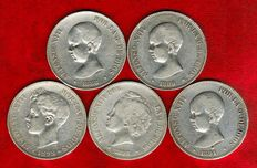 Spain – Set of five silver coins of five pesetas – Alfonso XIII (1888, 1889, 1891, 1892 and 1898). (5).