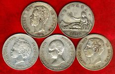Spain – Set of 5 silver coins of 5 pesetas – Provisional Government (Spain, 1870),  Amadeo I (1871*71), Alfonso XII (1876) and Alfonso XIII (1891 y 1892). (5).
