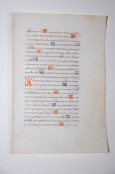 Manuscript; Illuminated handwritten leaf from a medieval book of hours - 14th century