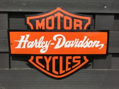 Emaille bord - Harley Davidson Motor Cycles - uitgesneden bolle model - eind 20e eeuw