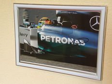 "Lewis Hamilton - 3 x world champion F1 - ""Keep Fighting Michael"" photo - hand-signed framed large photo + COA"