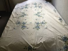 Old rectangular tablecloth - white cotton embroidered by hand in large blue flower pattern