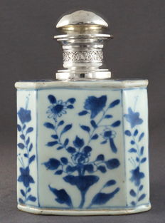 Large octagonal tea canister with silver - China - end 17th century, Kangxi period (1662-1722)