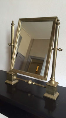 Adjustable, brass make-up or barber mirror, first half 20th century.