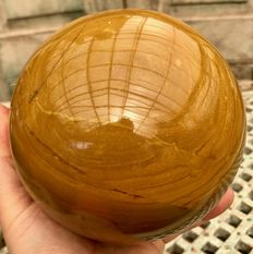 Huge, polished Yellow Jasper sphere - 14.3 cm - 4 kg