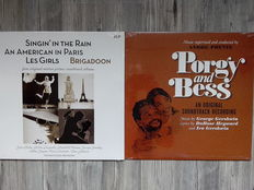 Lots of 5 original Classic Soundtracks, 2 Lp MGM Studio Orchestra, Gene Kelly, Debbie Reynolds, Donald O'Connor, Georges Guétary, Mitzi Gaynor, Carol Richards, Vann Johnson ‎– Singin' In The Rain - An American in Paris - Les Girls - Brigadoon, Porgy And B