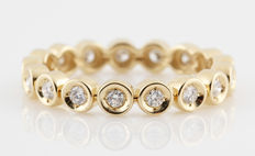 14kt. gold diamond eternity ring 0.34ct & (G-H) - VVS2-VS1. - size 56,5