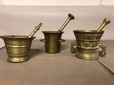 Three bronze mortars - ca. 1900