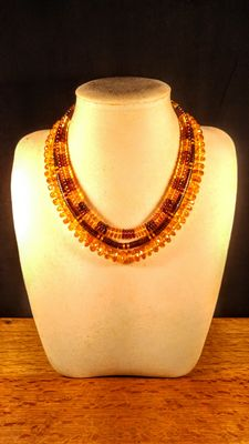 Genuine Baltic amber short necklace, set of 3 pieces, 56 grams