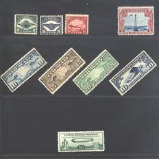 US – Air Mail – Scott catalogue numbers C 4/6 – 7/9 – C10 – C11 – C18 – + P.O. 803/34 A231a/32a/35a