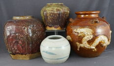 Collection of 4 storage jars - China - 19th century and first half of 20th century