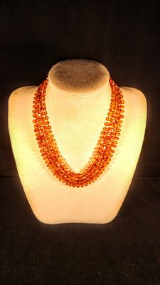 Long Genuine Baltic amber cognac coloured faceted necklace, 38 grams