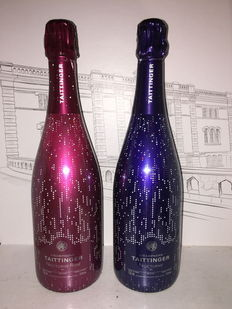 Taittinger Nocturne and Nocturne Rosé collector champagne – 2 matching bottles