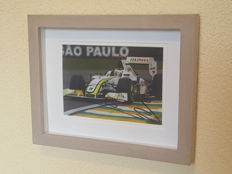 Jenson Button - World champion F1 Brawn GP - original autographed 3D framed photo + COA.