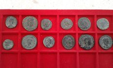 Roman Empire - Lot composed of 12 coins of emperors and caesars of the Lower Roman Empire: