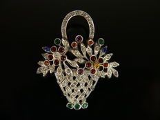 Basket brooch with synthetic coloured stones, silver!