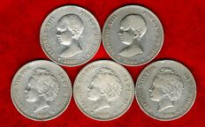 Spain – Set of five silver coins of five pesetas – Alfonso XIII (1888, 1889, 1892 and 1893 PG-L y PG-V). (5)