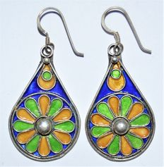 A Pair of Moroccan Enamel Flower Design Sterling Silver Earrings