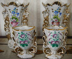 Porcelain altar vases, 2 small and 2 large, Flanders, about 100 years old