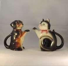 2 Tea pots in Cortendorf (Germany) ceramic - 1 in the shape of a cat and one in the shape of a dog