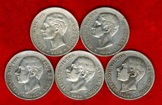 Spain - Set of 5 coins of 5 silver pesetas - Alfonso XII (1875, 1879, 1883, 1885*85 and 1885*87). (5).