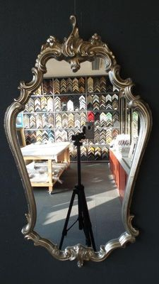 Large Venetian crest mirror - silver-coloured