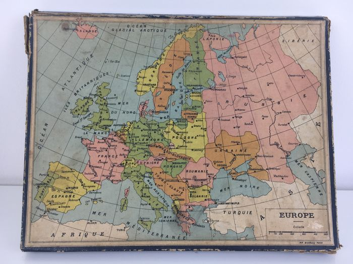 Puzzle of three maps - France, Africa and Europe - 1940 - Catawiki