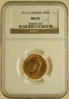 Canada – Sovereign 1911C – George V – NGC MS62 – gold
